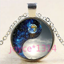 Yin Yang Earth Cabochon Tibetan silver Glass Chain Pendant Necklace #4444