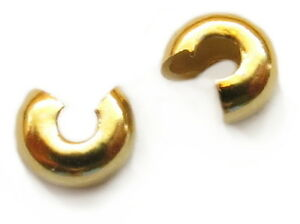 925er Silber, vergoldet. Kaschierperlen, Abdeckung,  Crimp Covers.      10 Stück