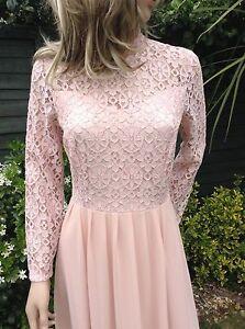 John Zack Lace Chiffon Maxi  Dress  Pink Bridesmaid Prom Party