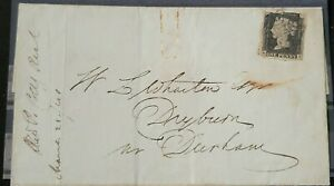 GB QUEEN VICTORIA SG 2/3  1D PENNY BLACK USED ON COVER