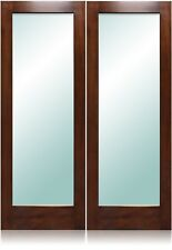 """One-Lite Design 72""""x80"""" Exterior Unfinished Modern Mahogany Double Pre-Hung Door"""