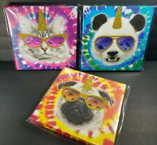 (3) Tie Die Canvas Wall Hangings Glitter Unicorn Horn Sunglasses Panda Dog & Cat