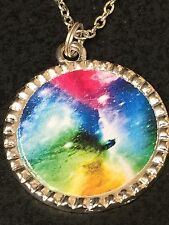 """Celestial Rainbow Clouds Charm Tibetan Silver with 18"""" Necklace"""