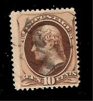 US 1879 Sc# 187 10  c  Brown Jefferson  USED - Light  Cancel - Crisp Color