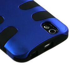 For LG Marquee Rubberized Hybrid FISHBONE Silicone Case Phone Cover Blue Black