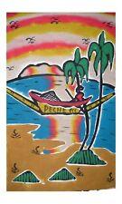 Grand tableau de sable africain du sénégal scene de vie pecheur en pirogue