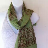 Om Hare Ram Yoga Meditation Green Prayer Cotton Scarf Handmade Nepal Fair Trade
