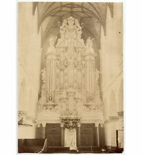 HAARLEM (HOLLAND) GROTE OF ST.BAVO KERK.ORGAN+LION SCULPTURES JULY 1880 ALBUMEN