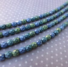 Fire polished czech glass beads 4mm SNAKE WIND MIX - 38 beads per strand
