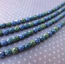 Fire polished czech glass beads 4mm SNAKE WIND MIX - 38 beads per strand