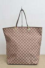 Gucci Large Bucket Handbag w/ Brown Leather Trims Used Authentic
