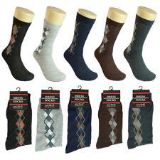3-12 pairs Men Multi Color S-Argyle Cotton Fashion Casual Dress Socks Size 10-13