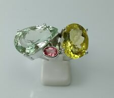 Wedding Ring-Multi Birthstone Ring-Amethyst,Pink Tourmaline AND Lemon Topaz Ring