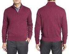 DAVID DONAHUE Fine Cable Knit Silk Blend Quarter Zip Sweater Sz.XXL NWT $195