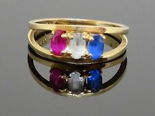 Vintage USA Red White & Blue 0.7 CT Ruby, Topaz & Spinel 14K Ring, 2.7g, sz 6.75