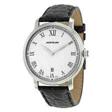 Montblanc Tradition Date White Guilloche Dial Black Leather Men's Watch 112633