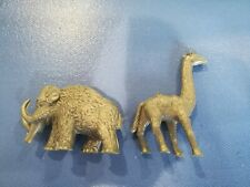 2 Nabisco Prehistoric Mammals Dinosaur Wooly Mammoth silver gray Premium Figures