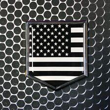 """USA America Flag MONOCHROME Domed CHROME Emblem Car 3D Sticker 2""""x 2.25"""" Merica"""