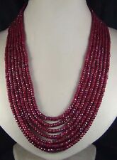 NEW 2x4mm Fashion NATURAL RUBY FACETED BEADS NECKLACE 7 STRAND 17-23""