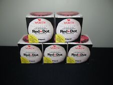 5 WORTH RED DOT Official Leather Fast or Slow Pitch Softballs NIB