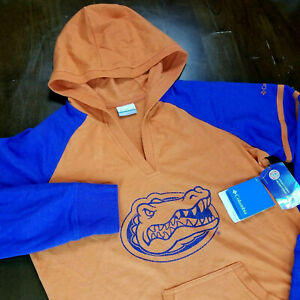 Columbia Womens XL Orange And Blue Florida Gators Shirt Hoodie Pullover L/S NWT