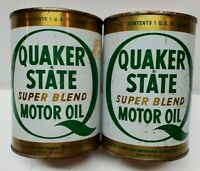 Lot of 2 VTG Quaker State Motor Oil Super Blend Metal Cans Quart EMPTY 1970's