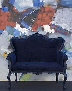 Nadya wood&velvet navy blue Loveseat. Polart. Handmaid in Mexico
