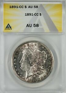 1891-CC $1 BU Morgan Silver Dollar Coin ANACS AU58 **Carson City**