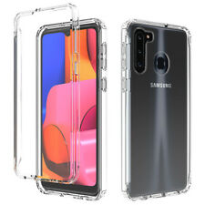 For Samsung Galaxy A11 A21 Case Clear TPU Phone Cover +Tempered Glass Protector