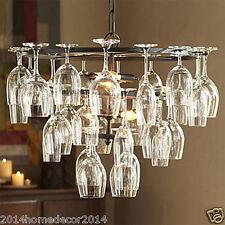 Bar Wrought Iron Pendant Lights w/ Red Wine Glass Shelf 3 Tiers Retro Lighting