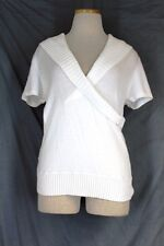 BCBG Wrap Sweater Top LARGE White Cotton Tencel Knit Short Sleeve Pullover