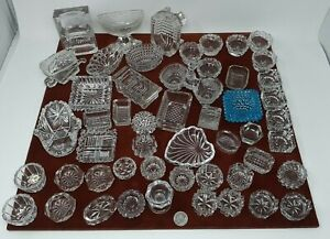 Lot of 51 Vintage Assorted shapes/sizes Clear Glass Open Salt Cellars / Dips