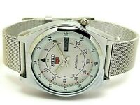 seiko 5 automatic men's steel railway time day/date vintage japan watch run