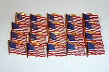 LOT OF 20 - USA Waving Flag Lapel/Hat Pins, Tie Tack~ Gold Tone w/Resin Filling