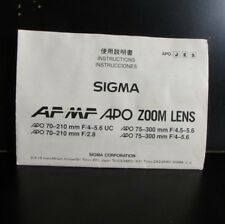 Sigma APO Zoom 70-210mm f2.8 AF 75-300mm Lens Manual Guide Instructions
