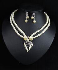 2er Set Perlen Farbe Silber Damen Schmuck Set Brautschmuck 0741 Plattiert