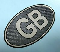 GB Oval 100mm CARBON FIBRE EFFECT Sticker/Decal - Retro - GLOSS DOMED GEL FINISH