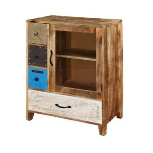 Made to Order Vivid Indian Solid Wood Small Buffet Cabinet With Chest Of Drawers