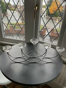 Glass Cut & Silver 5 Candle Table Centrepiece