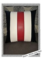 Accent Decorative leather pillow black white red stripes case cushion cover