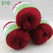 Lot of 3 BallsX50g Soft Warm Chunky Thick Wool Hand Knitting Yarn 210 Dark Red