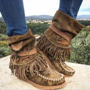 Womens Casual Tassel Ankle Boots Moccasin Winter Boot Comboy Round Toe Flat Shoe