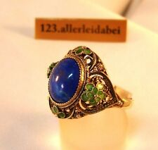 alter Lapislazuli Emaille Ring Silber old China silver enamel Emaile / BA 851