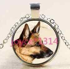 Glass Chain Pendant Necklace #2382 German Shepard Cabochon Tibetan silver