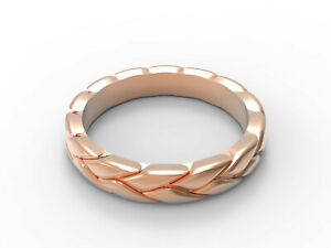 Solid 14k Rose Gold Ring Textured Band All sizes Adjustable