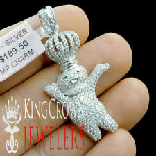 "10K White Gold Silver Round Simu Diamond Doughboy Pendant 1.85"" Mens Pave Charm"