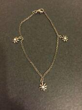 Cz Charms Bracelet 7.25� Vintage Sterling Silver Flower