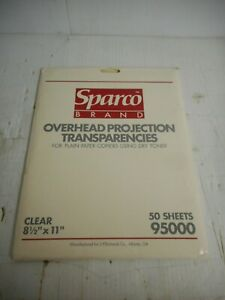 """Sparco Overhead Projection Transparencies Approx. 50 Sheets 8.5"""" x 11"""" P/N 95000"""