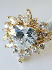 Fancy CZ Flower Design and heart Gold plated cocktail Ring Several Stones Size 6