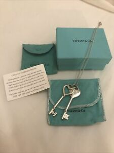 "Tiffany & Co. Silver Double Key, Puffed Heart & Diamond Necklace 16"" Chain. VGC"